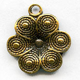 Vintage brass flower charm. 10mm Pkg. of 10. b9-0880(e)