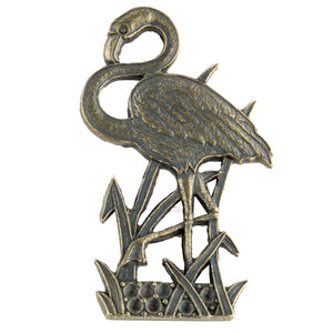 Vintage antiqued brass flamingo with rhinestone setting. Smooth back. Pkg. of 1. b9-0889