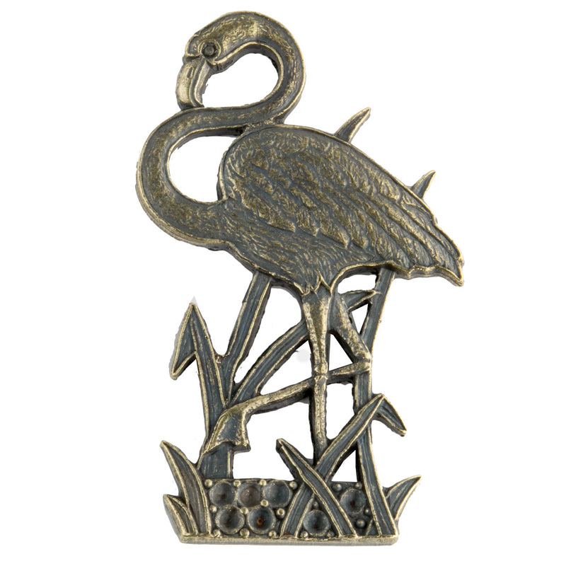 b9-0889-Vintage brass flamingo stamping. Pkg. of 1