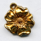 b9-0891-Stamped brass flower charm. 10mm Pkg of 6.