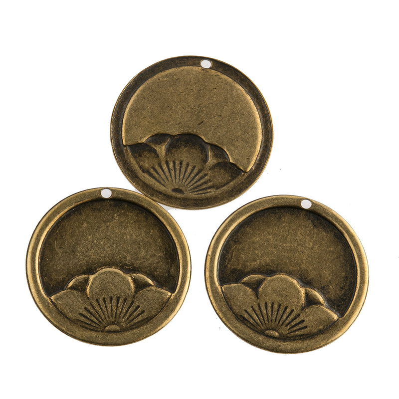 Vintage stamped brass Japanese flower design charm. 15mm Pkg of 4. b9-0893(e)