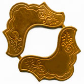 b9-0894-Vintage brass yoke shaped stamping, joined in pairs. 2 Pairs
