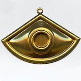 Vintage brass fan-shaped pendant with setting for 6-7mm stone. Pkg of 1. b9-0895(e)