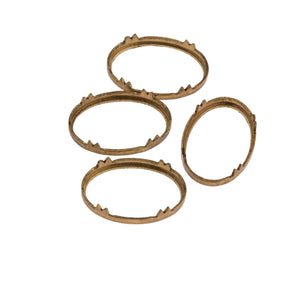 Brass pronged bezel setting for 11-12 x 17-18mm cabachon. Pkg of 4-b9-0898(e)