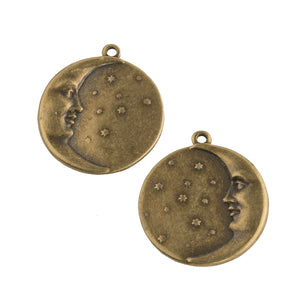 Brass man on the moon charms. 17mm 1 Pair. b9-0902