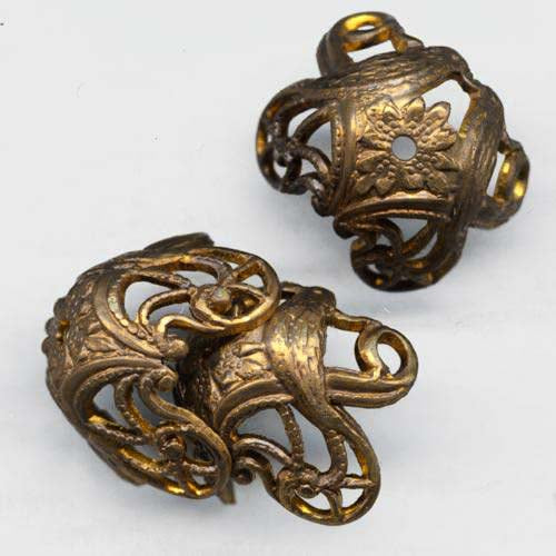 Solid oxidized stamped brass Art Nouveau style lovebird adjustable bead cap 15x10mm outer dimension. Package of 4. b9-0918