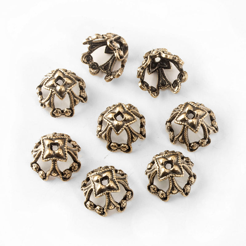 Solid oxidized brass ornate bead cap 10x8mm outer dimension. Package of 4. b9-0920(e)