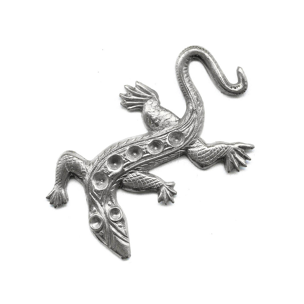 Vintage sterling silver plated brass lizard stamping with stone settings. 45x30mm Pkg of 1. b9-0923
