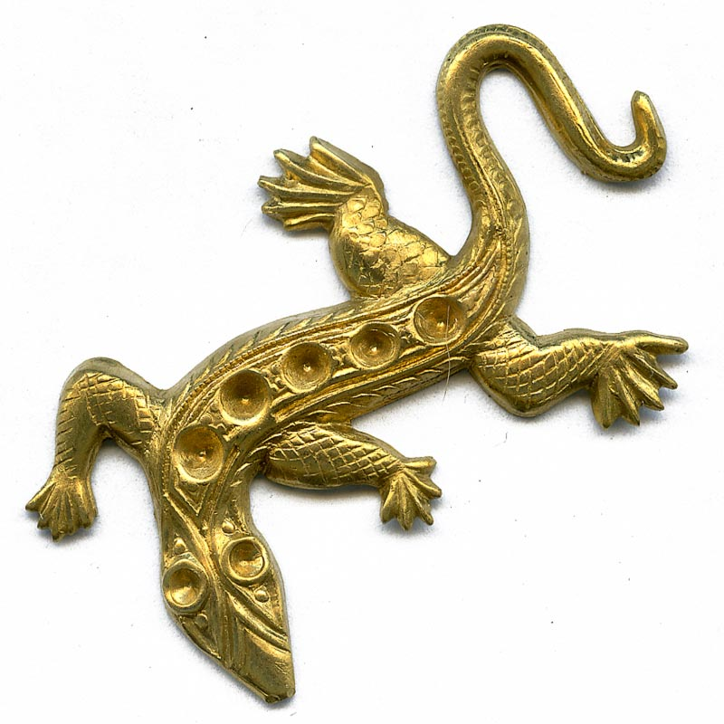 Vintage brass lizard stamping with stone settings. 45x30mm pkg of 1. b9-0923(e)