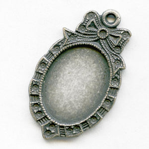 Vintage silver metal frame setting with 1 ring, for 16x12mm flat back cabochon. Pkg of 1. b9-0928(e)