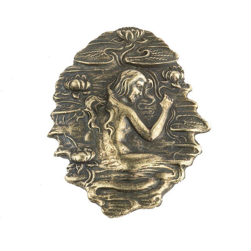 Vintage antiqued brass lady in a lake stamping. Pkg of 1. b9-0734