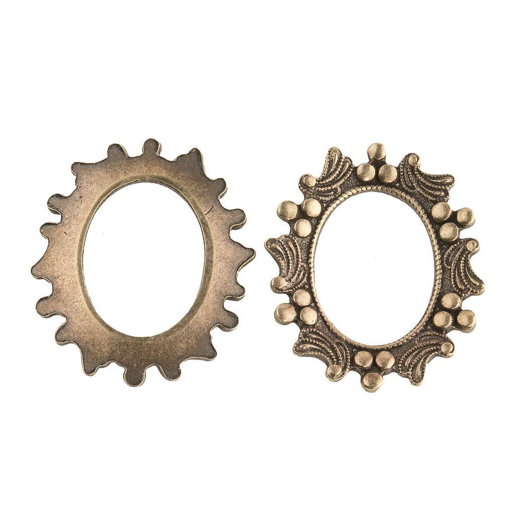 Vintage oxidized brass frame setting for a 19x14mm cabochon. Pkg of 1. b9-0956