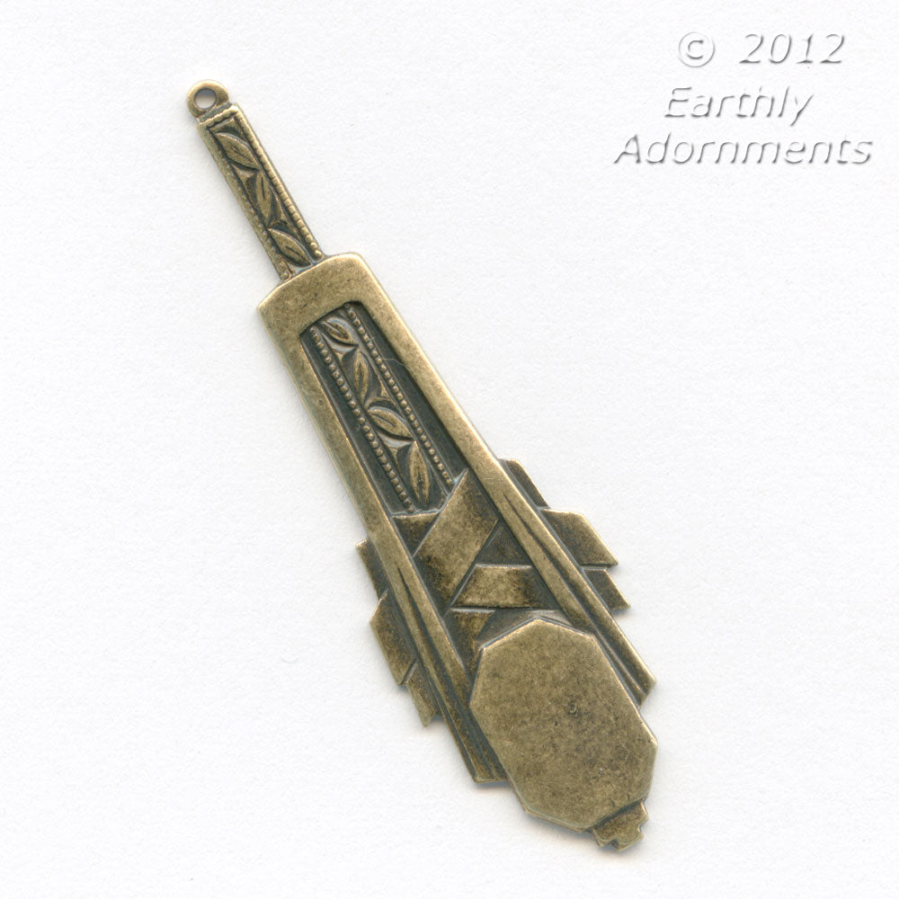 Stamped oxidized brass Art Deco-style pendant. 55x17mm Pkg of 2. b9-0959(e)