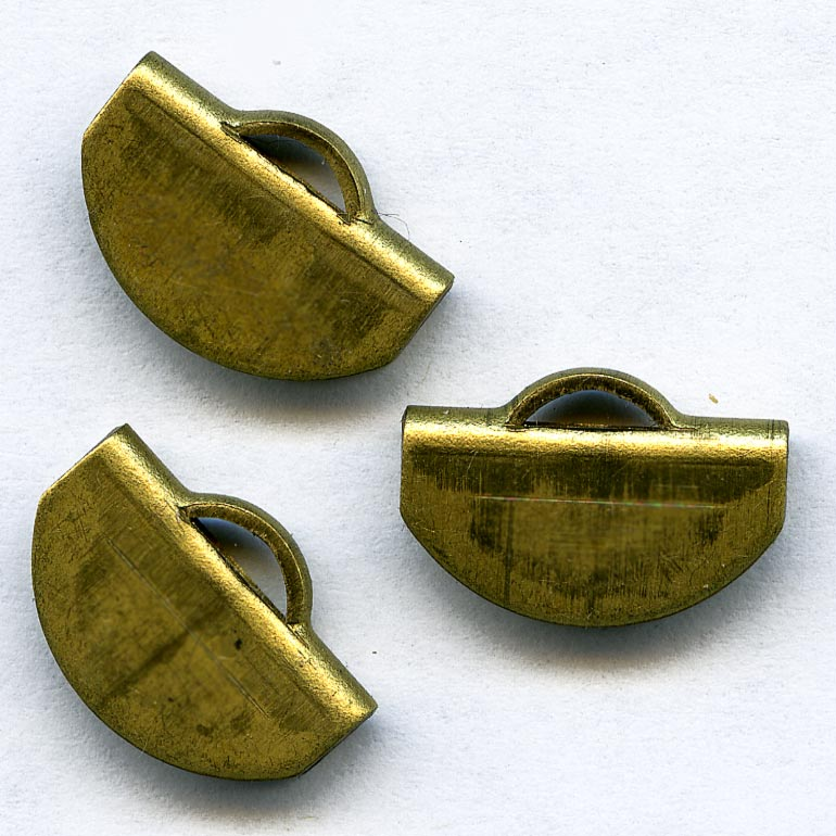 Vintage brass folded cap or bail 15x11mm pkg of 2. b9-0973(e)