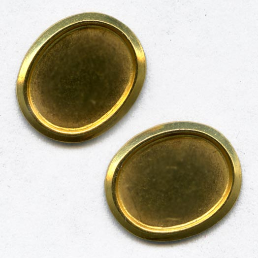 b9-0974-Vintage brass setting for 10x8mm oval cabochon. Pkg of 6