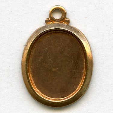 b9-0976-Vintage brass frame pendant setting for 10x8mm cabochon. Pkg of 4