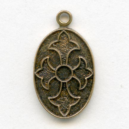 b9-0980-Vintage stamped brass ornamental charm, 14x9mm pkg of 4