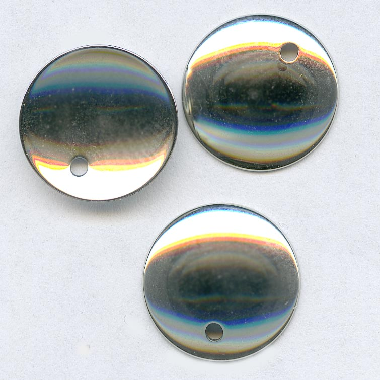 Vintage bright steel sequin disks, 14mm pkg of 10. b9-0982(e)