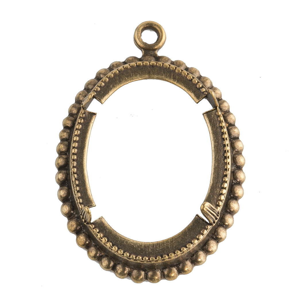 Vintage antiqued brass frame 1 ring pendant with prong setting for 30x22mm cabochon. Pkg of 1. b9-0996