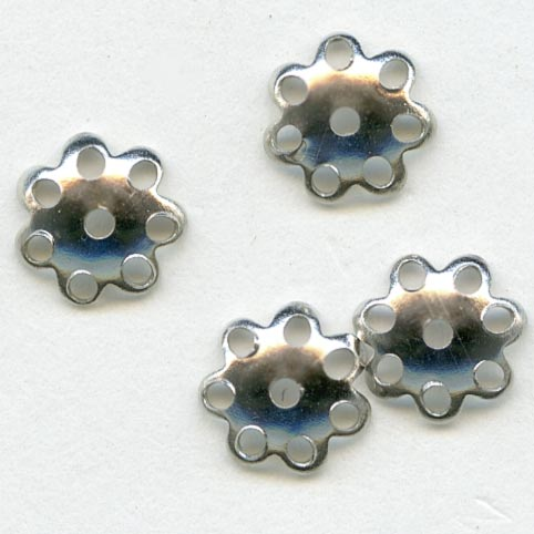Smooth perforated silver plated bead cap with scalloped edges 7mm pkg of 10. b9-1006(e)