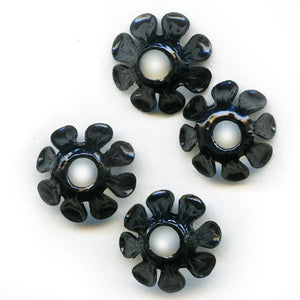 Vintage black enamel daisy bead cap 10x5mm pkg of 6. b9-1009(e)