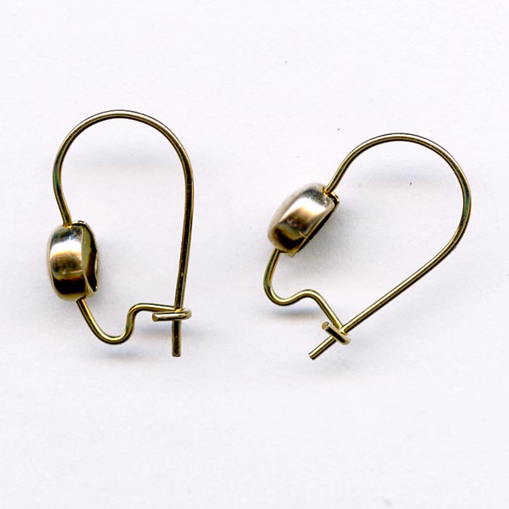 Brass kidney ear wire with brass bead 4 pair. b9-1015