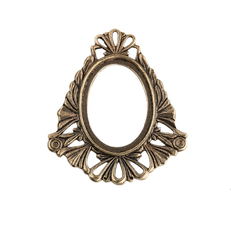 Vintage solid ox brass frame pendant setting for 24x19mm cabochon. Pkg. of 1. b9-1018(e)