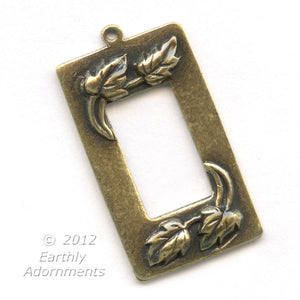 Oxidized stamped brass pendant with rectangular window, 30x16mm Pkg of 1. b9-1043(e)