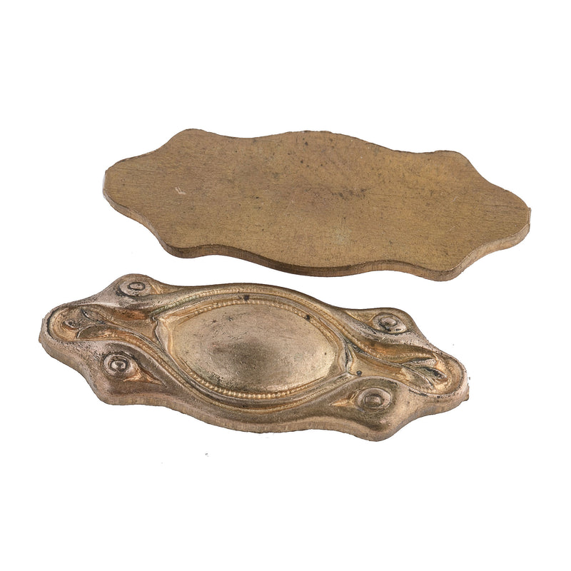 Vintage Solid Cast Brass Ornament.  Flat back. 29x15mm. Package of 2. b9-1069