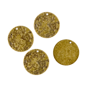 "Solid stamped brass ""ancient coin"" pendant disk. 10mm pkg of 4. b9-2003-2"