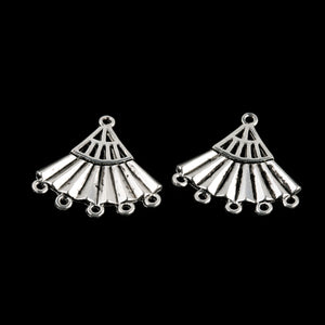Vintage silver metal fan-shaped 1 to 5 ring chandelier connector. 22x23mm Pkg of 2. b9-2005(e)