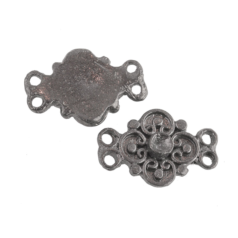 Vintage Dark Silvertone Cast Metal 4-Ring Connector.  Flat Back with bezel stone setting. 21x14mm. Pkg of 4. b9-2018