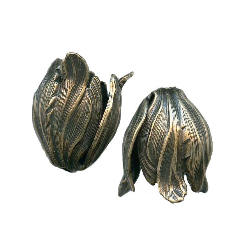 Oxidized brass petal bead cap 22mm sold individually. b9-2024