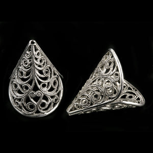 Vintage sterling silver plated brass filigree cone 23x21mm 2 pcs. b9-2048-2S