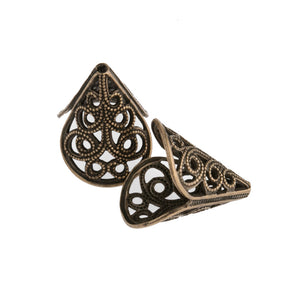 Vintage oxidized brass filigree cone 16x15mm. 2 pcs.  b9-2048-1(e)