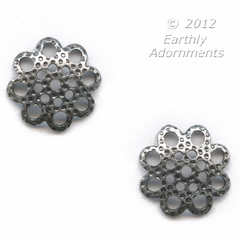 Silver metal stamped and pierced bead caps, 8mm. Package of 20.