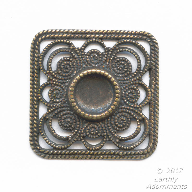Oxidized brass square stamped pendant with a 5-6mm rounded back setting, 20mm square, sold individually. b9-2133(e)