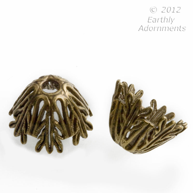 Oxidized brass filigree domed bead cap 8x10mm pkg of 4. b9-2137