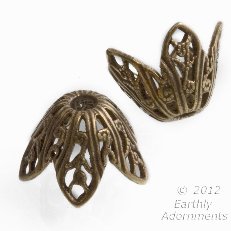Oxidized brass 5 petal floral bead cap 10x10mm, pkg of 4. b9-2136(e)