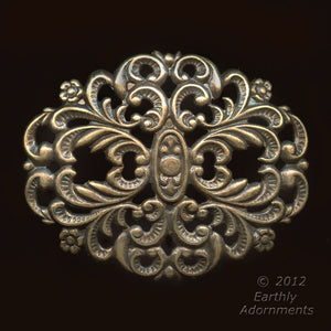 Oxidized brass stamped filigree 35x50mm sold individually. b9-2139(e)