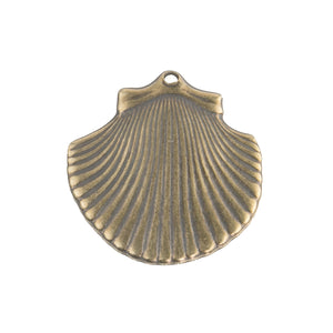 Vintage antiqued  stamped brass seashell charms 15x17mm, 4 pcs. B9-2159