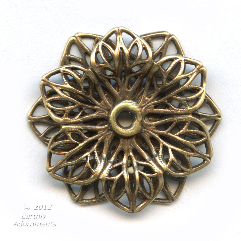 Oxidized brass 22mm diameter double filigree rosette with setting for cabochon or stone. 9-14mm. 1 pc. b9-2161(e)