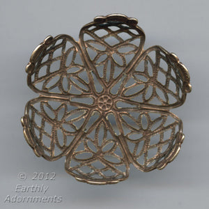 Oxidized brass filigree setting for a flat back round cabochon 20-24mm in diameter. 1 pc. b9-2162(e)