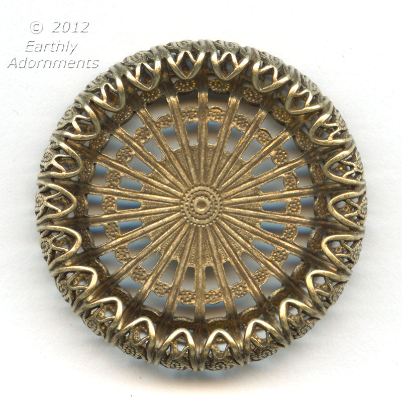 Oxidized brass filigree setting for a flat back round cabochon 12mm diameter. 1 pc. b9-2163