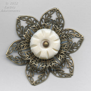 Oxidized brass 45mm diameter double filigree rosette with setting for cabochon or stone. 15-20mm. 1 pc. b9-2166(e)