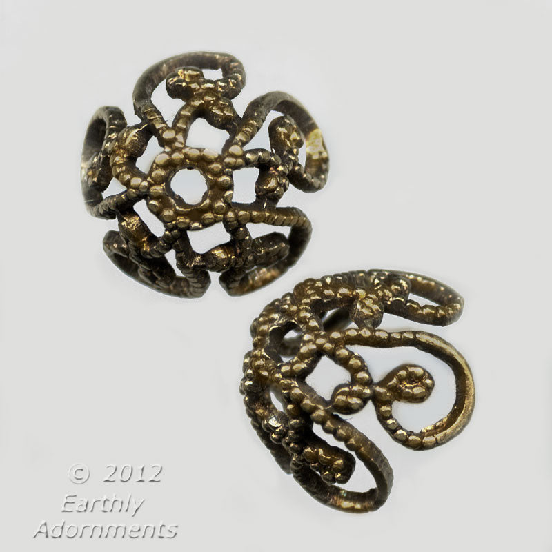 Stamped oxidized brass filigree bead cap. 9mm. Package of 4. B9-2167-1
