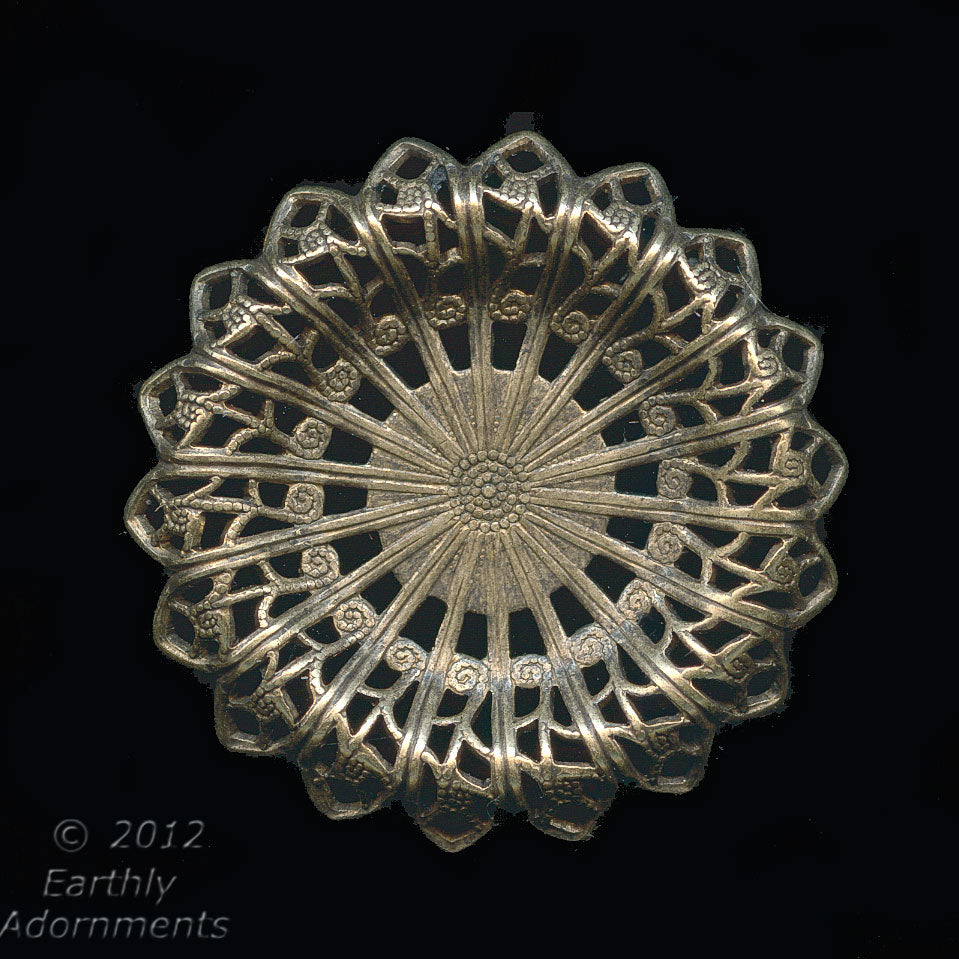 Oxidized brass 30mm diameter filigree rosette with setting for cabochon or stone. 12-15mm. 1 pc. b9-2178