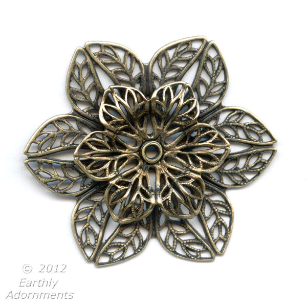 Oxidized brass 35mm diameter double filigree rosette with setting for cabochon or stone. 10-12mm.1 pc. b9-2179(e)
