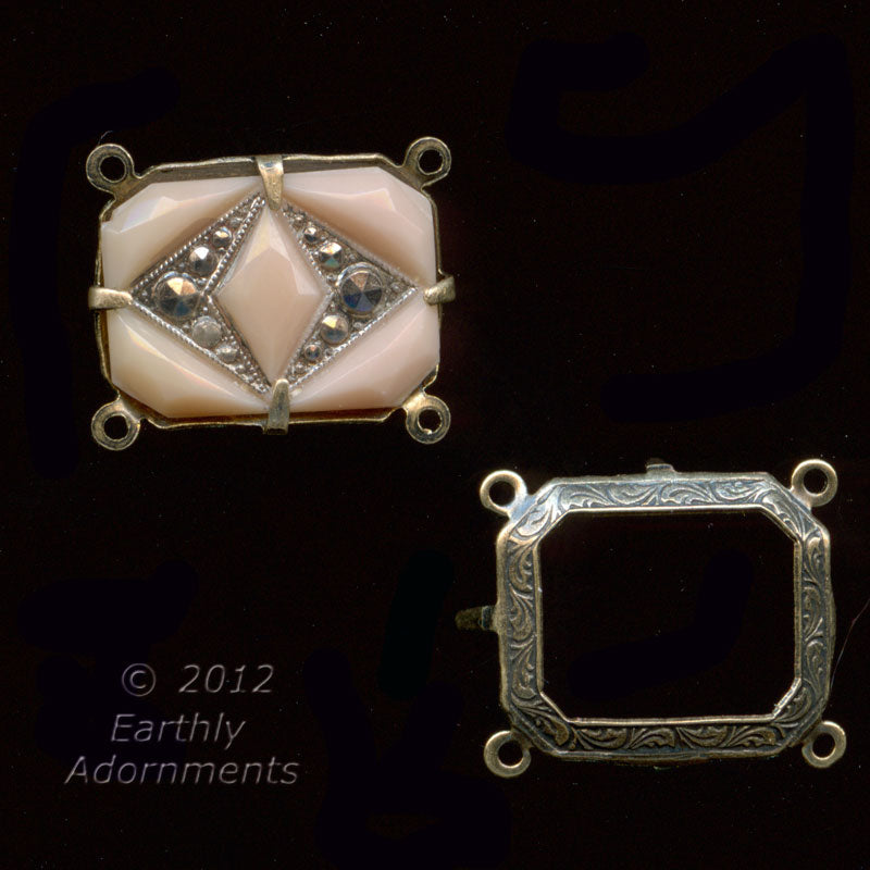 Vintage 4-prong, 4-ring oxidized brass open back setting for 14x10mm stone. Sold individually. b9-2181(e)