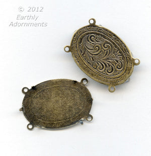 4-prong, 4-ring oxidized brass solid engraved back setting for 24x19mm cabochon. Sold individually. b9-2182